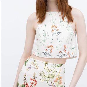 Zara Halter Top Delicate Floral